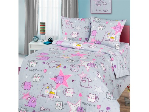 Детское постельное белье в кроватку бязь Мяу-мяу Мяу-мяу от Царский Дом в интернет-магазине PannaTeks