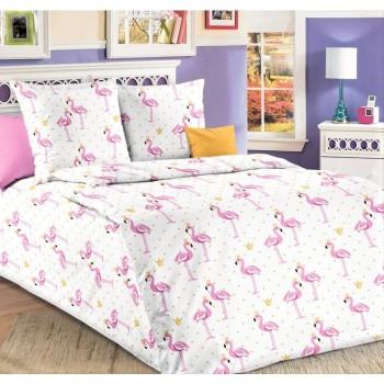 """Постельный комплект в кроватку бязь """"Розовые Фламинго"""""""