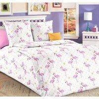 Детское постельное белье в кроватку бязь Розовые Фламинго