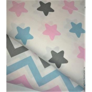 Детское постельное белье в кроватку поплин Звезды-прянички розовые фото 5