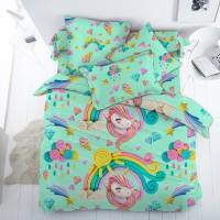 Детское постельное белье поплин Пластилиновый Мир (Единорожки)