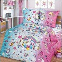 Детское постельное белье поплин Единорожки