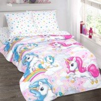 Детское постельное белье для девочки поплин Карусельки-Единорожки