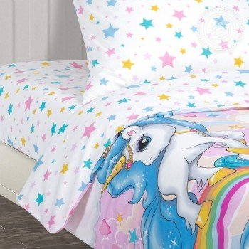 Детское постельное белье для девочки поплин Карусельки-Единорожки фото 1