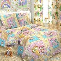 Детское постельное белье в кроватку поплин Совушки
