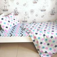 Детское постельное белье поплин Звезды-прянички розовые