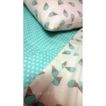 Детское постельное белье в кроватку сатин Мороженое мятное фото 4