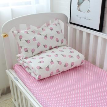 """Постельное белье в кроватку сатин """"Мороженое розовое"""""""