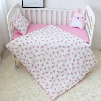 """Постельное белье в кроватку сатин """"Мороженое розовое"""" фото 2"""