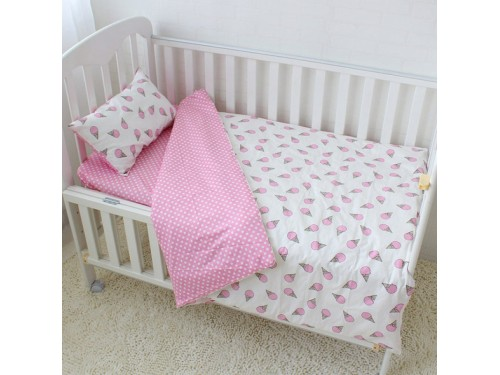 Детское постельное белье для девочки сатин Мороженое розовое Мороженое розовое от Царский Дом в интернет-магазине PannaTeks