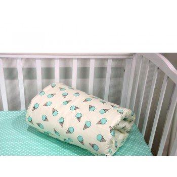 Детское постельное белье в кроватку сатин Мороженое мятное фото 1