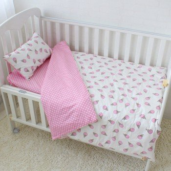 Детское постельное белье для девочки сатин Мороженое розовое