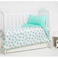 Детское постельное белье в кроватку сатин Мороженое мятное