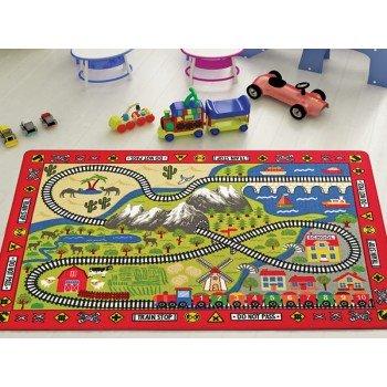 Детский коврик с дорогой Confetti Railway Kirmizi Турция