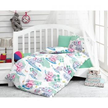 """Постельное белье в кроватку ранфорс """"Elephant Mint"""""""