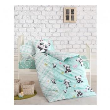 """Постельное белье в кроватку ранфорс """"Panda Mint"""""""
