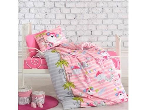 Детское постельное белье для новорожденных в кроватку Sevimli Maymunlar Pembe 08007779 от Cotton box в интернет-магазине PannaTeks