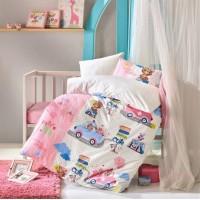 Детское постельное белье в кроватку Sevimli Seyahat Pembe ранфорс