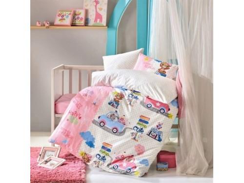 Детское постельное белье в кроватку Sevimli Seyahat Pembe ранфорс Cotton Box 08007786 от Cotton box в интернет-магазине PannaTeks