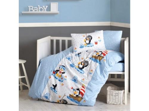 Детское постельное белье в кроватку Penguen Mavi ранфорс Cotton Box 08007796 от Cotton box в интернет-магазине PannaTeks