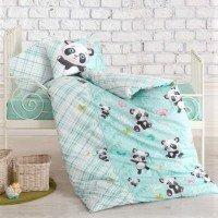 Детская постель для новорожденных Panda Mint ранфорс Cotton Box Турция
