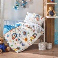 Детское белье для новорожденных Uzay Oyunu Mavi ранфорс Cotton Box