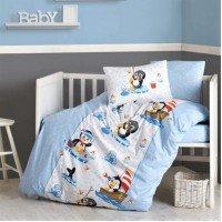 Детское постельное белье в кроватку Penguen Mavi ранфорс Cotton Box