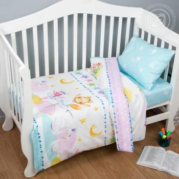 Детское постельное белье в кроватку поплин Акварельки фото 1