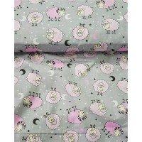 Детское постельное белье в кроватку бязь Барашки розовые