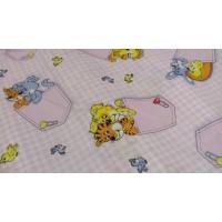 Детское постельное белье в кроватку бязь Кармашки розовые