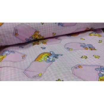 Детское постельное белье в кроватку бязь Кармашки розовые фото 1