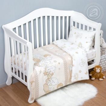 Детское постельное белье в кроватку поплин Медвежата фото 1