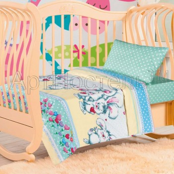 Детское постельное белье в кроватку поплин Пушистик