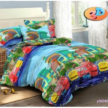 Постельное белье в кроватку ранфорс Веселый Экспресс