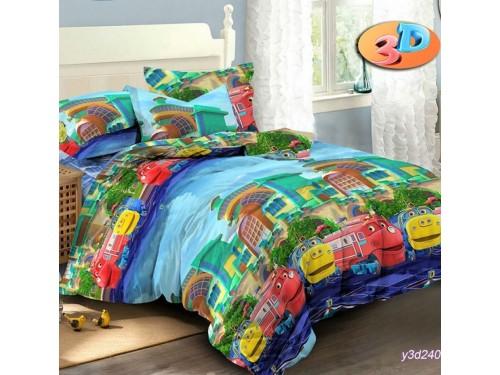 Детское постельное белье в кроватку ранфорс Веселый Экспресс 0979 от Комфорт Текстиль в интернет-магазине PannaTeks