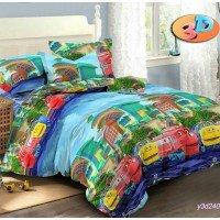 Детское постельное белье в кроватку ранфорс Веселый Экспресс
