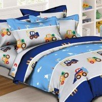 Детское постельное белье в кроватку для новорожденного Транспорт ранфорс