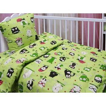 Детское постельное белье в кроватку бязь Совушки салатовые