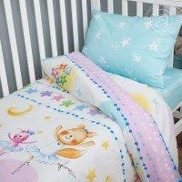 Детское постельное белье в кроватку поплин Акварельки