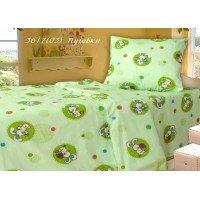 Детское постельное белье в кроватку бязь Пуговка салатовая
