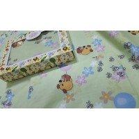 Детское постельное белье в кроватку бязь Винни салатовый