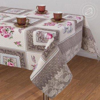 Скатерть на стол из хлопка Прованс коричневый, Украина