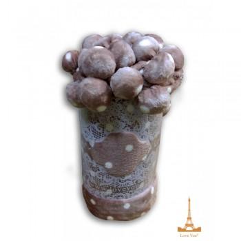 Меховой плед Шары с бубонами розовый фото 1