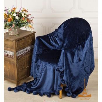 Меховой плед Шары с бубонами синий фото 1