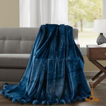 Меховой плед Шары с бубонами синий 181168 от Love You в интернет-магазине PannaTeks