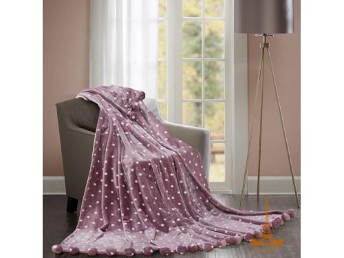 Меховой плед Шары с бубонами розовый Бубон шары розовый от Love You в интернет-магазине PannaTeks