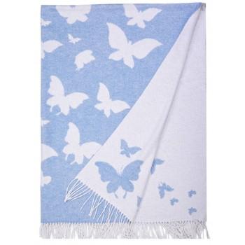 Хлопковый плед Бабочки голубые