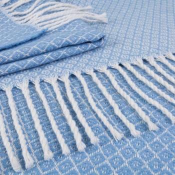 Плед хлопковый Gala140х200 голубой фото 2