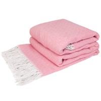 Хлопковый плед Крекер140х200 розовый