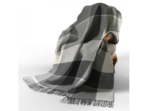 Плед клетчатый шерстяной Эльф белый-серый-темно серый 4049 от Vladi в интернет-магазине PannaTeks